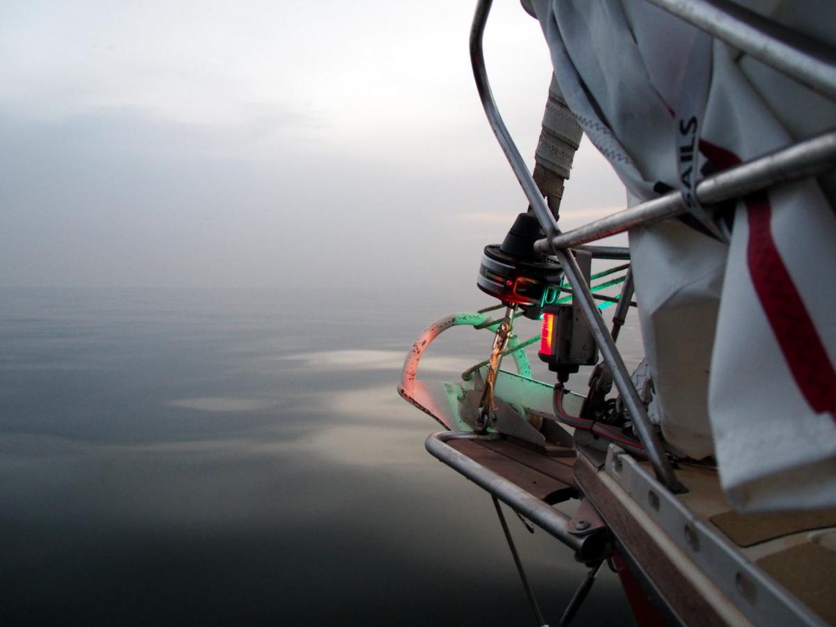 Flaute und Nebel vor Westafrika